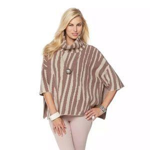 MarlaWynne Poncho Sweater Jacquard Turtleneck